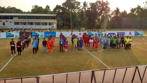 All team line up at All India Invitational Blind Football Tournament at Aluva