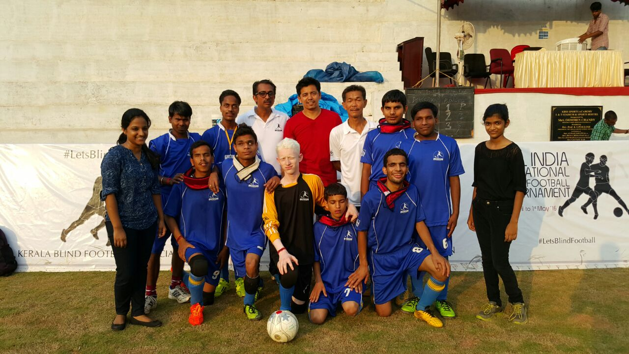 Players at All India Invitational Blind Football Tournament at Aluva