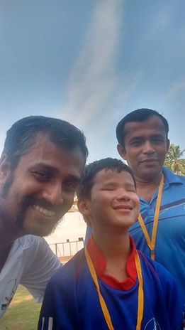 sunil j mathew with little blind footballer