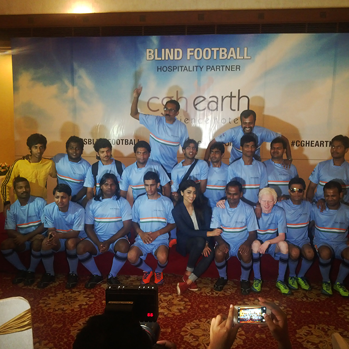 Indian blindfootball team with sriya saran