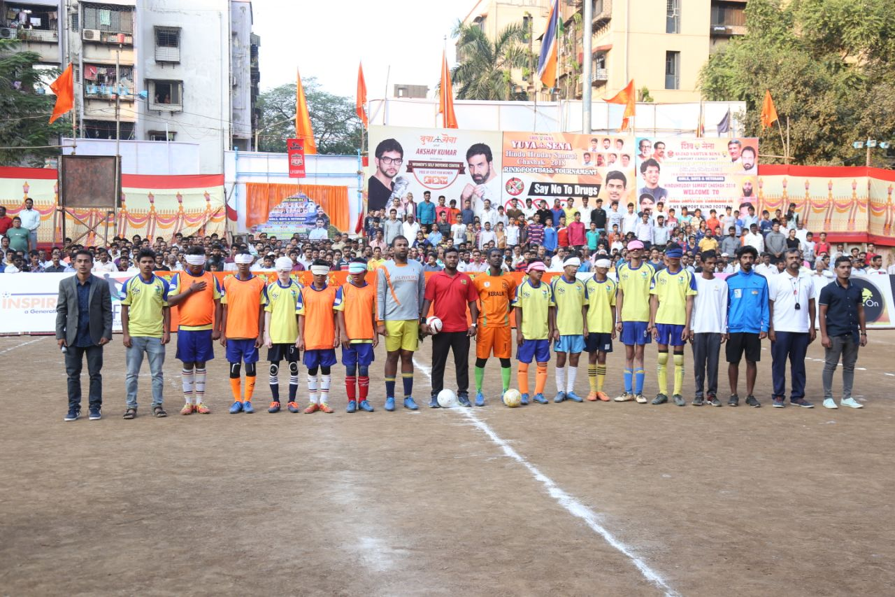 Team line up at Blind Football exhibition game