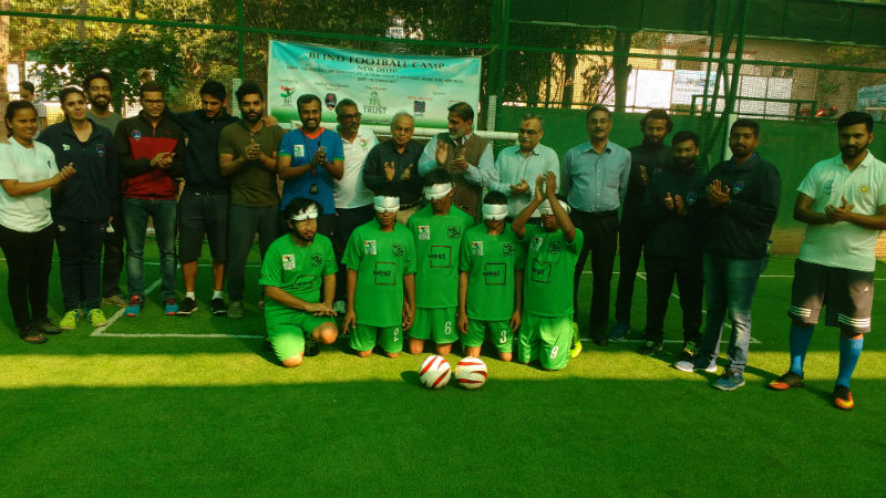 team with Blind Football Demo game and Awareness session Organisers at new delhi