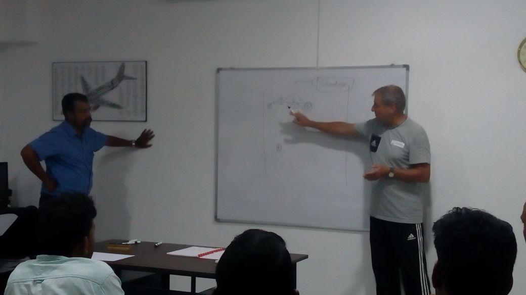 Ulrich Pfisterer teaching football lessons