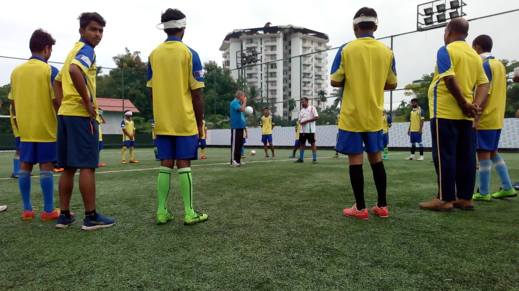Training sessions at Blind Football training academy at ground
