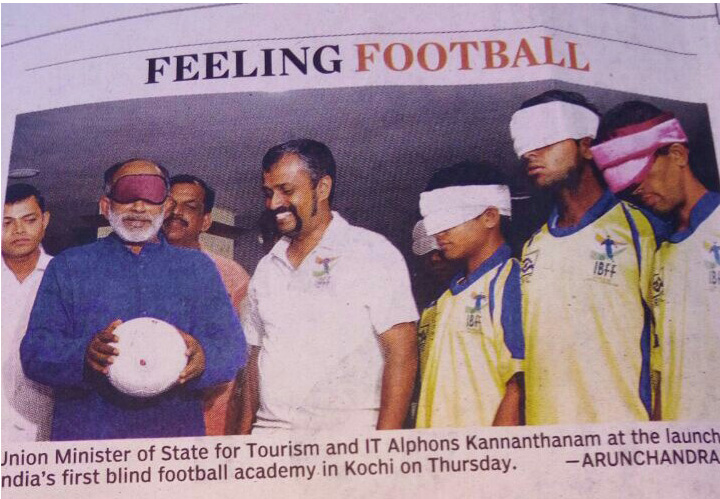 News paper cutting about blindfootball academy inauguration
