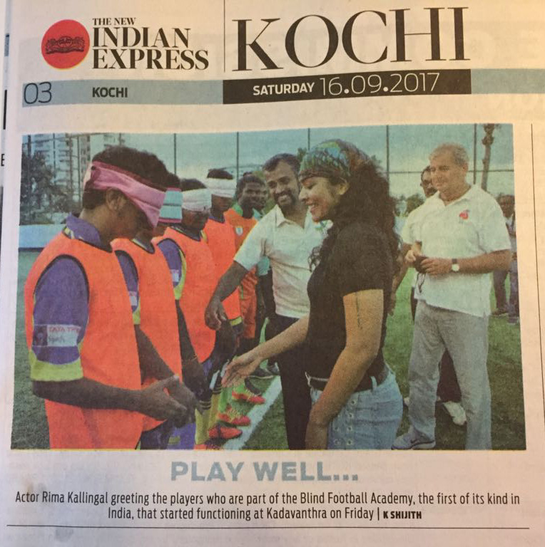 News paper cutting about blindfootball academy inauguration on Indian express