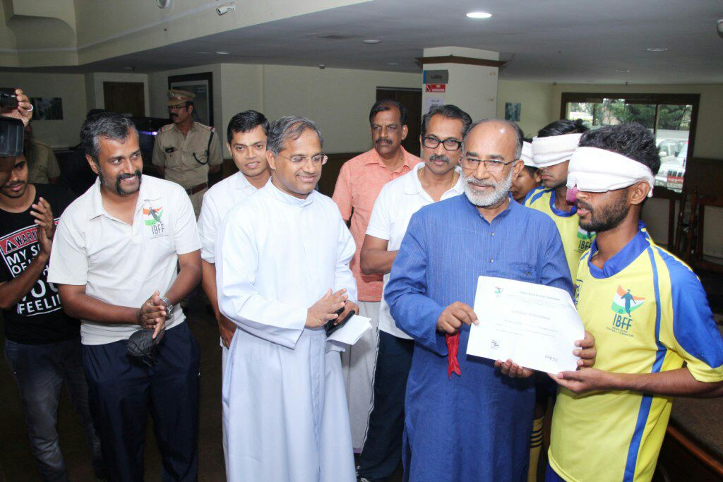 union minister alphons kannanthanam at Inauguration of first blind football academy in india