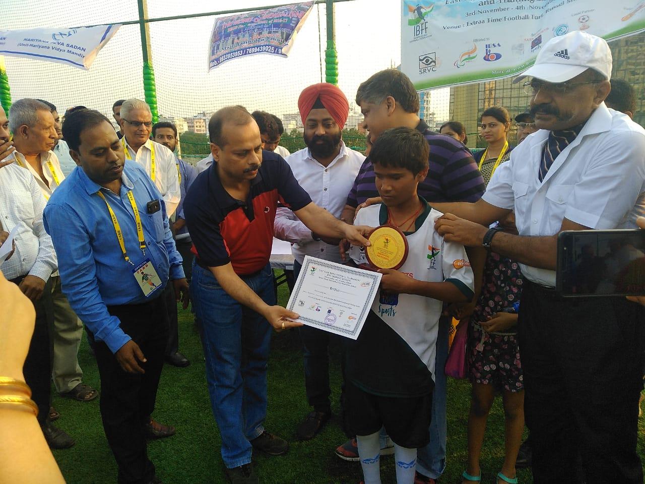Giving awards to little footballer on East Zone Blind Football Tournament, Kolkata