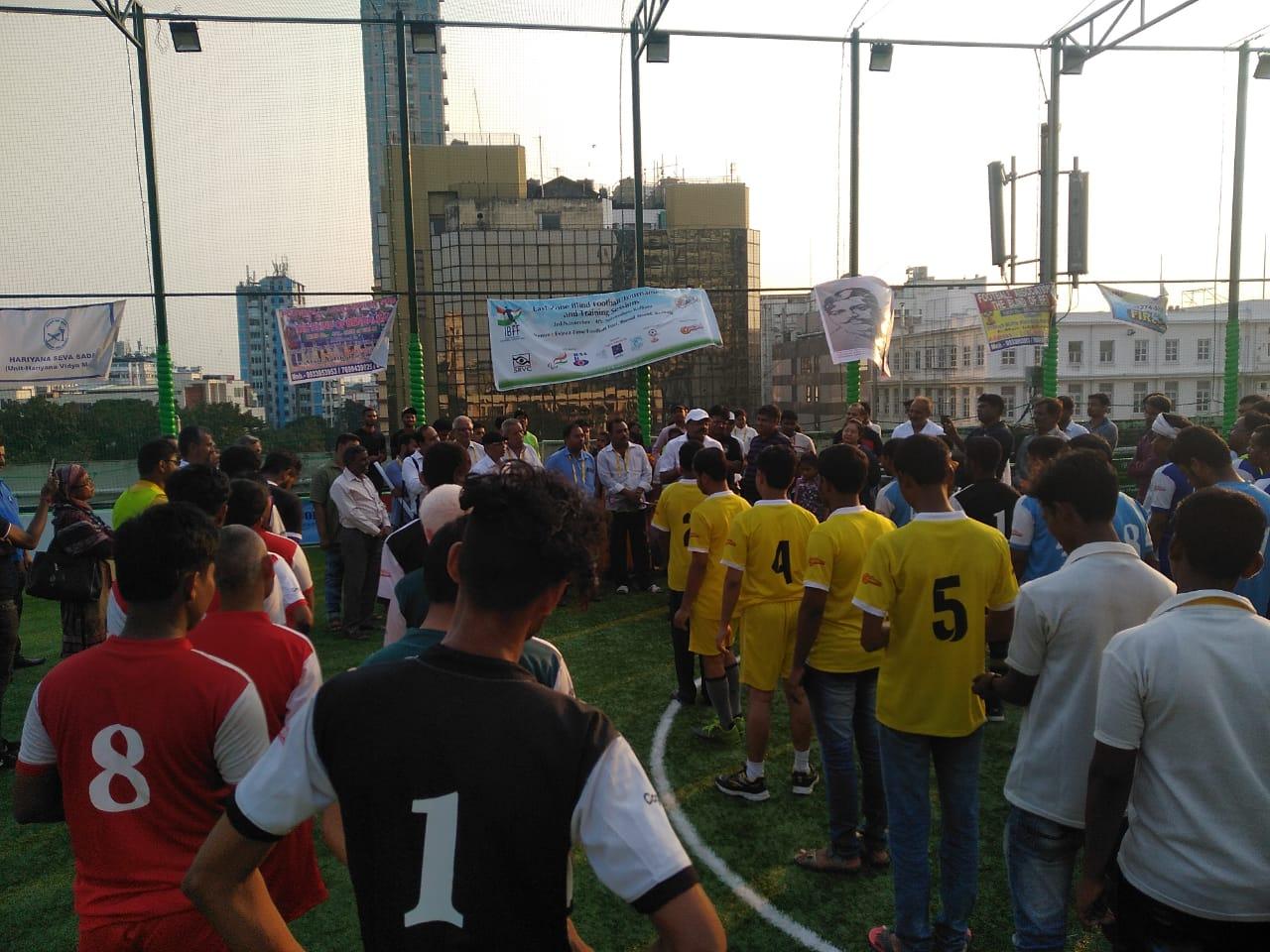 All teams line up on East Zone Blind Football Tournament, Kolkata