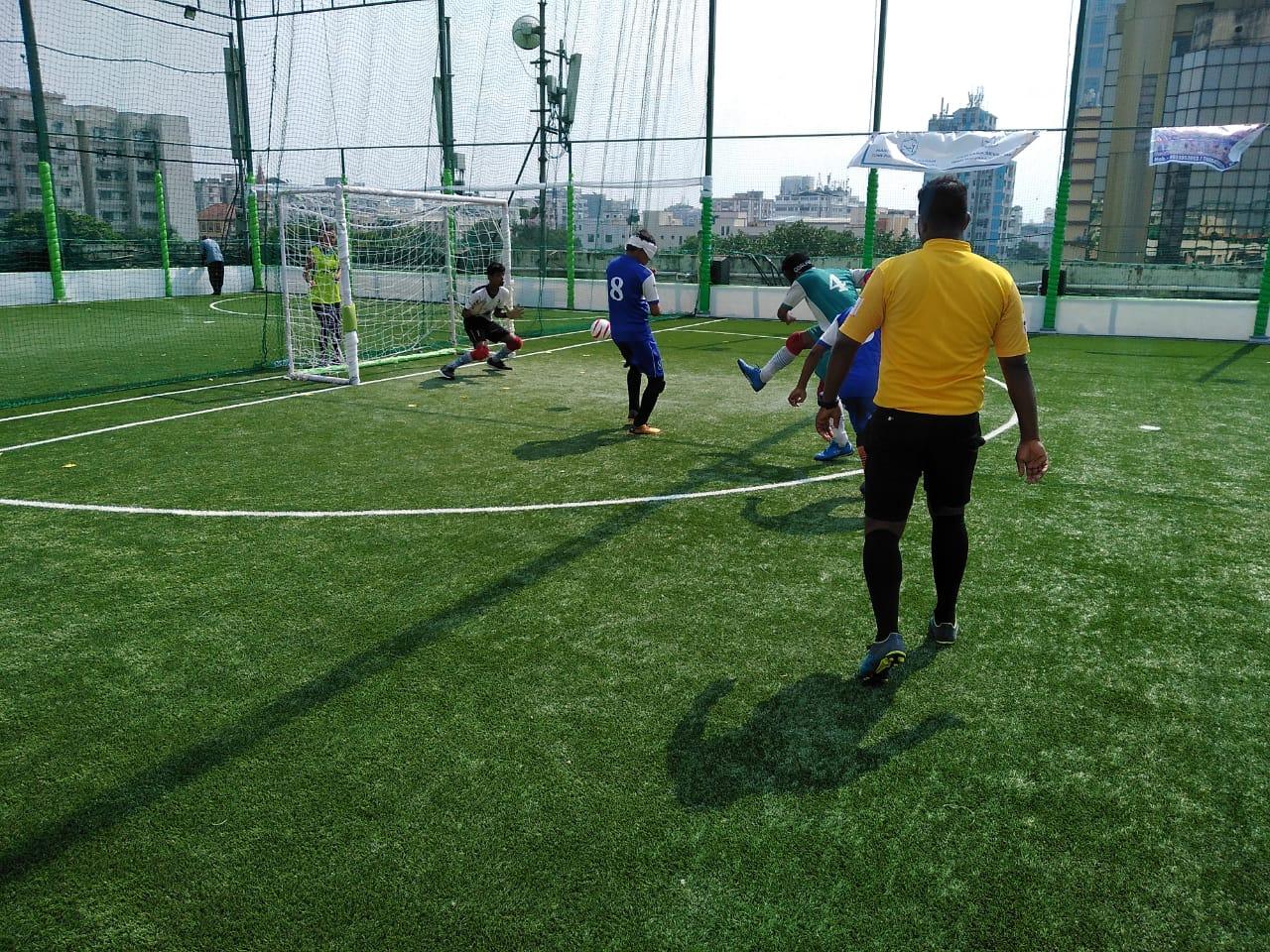 Shoot to goal post during East Zone Blind Football Tournament, Kolkata