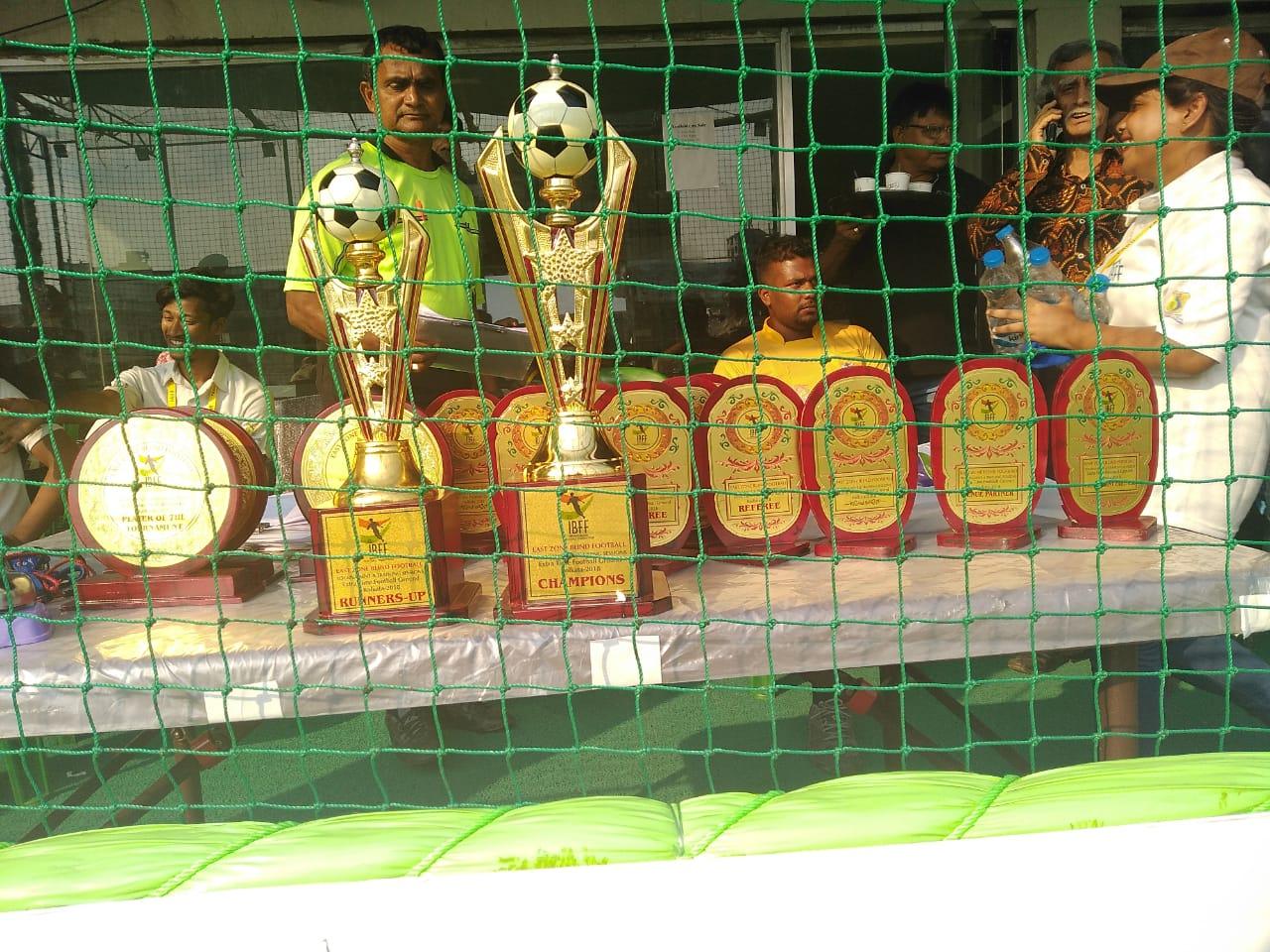 Trophies awarded during East Zone Blind Football Tournament, Kolkata