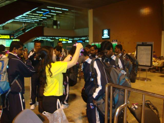 Being welcomed on arrival at Bangkok. A special moment for most of the boys