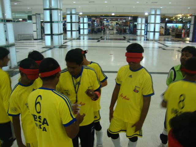 giving instructions to players Indian Blind Football Teams participation at its First Ever International Tournament featuring seven nations bangkok