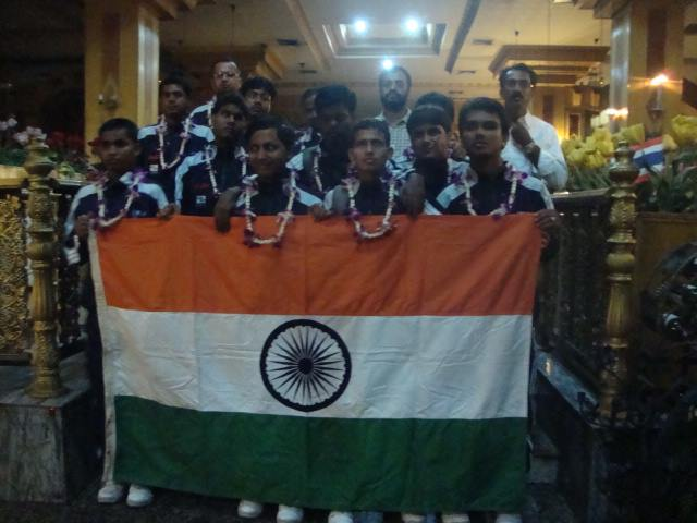 Team india with indian flag Blind Football Teams participation at its First Ever International Tournament featuring seven nations bangkok