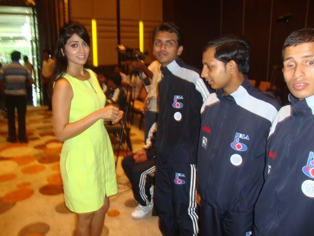 Shriya Saran with the Indian team