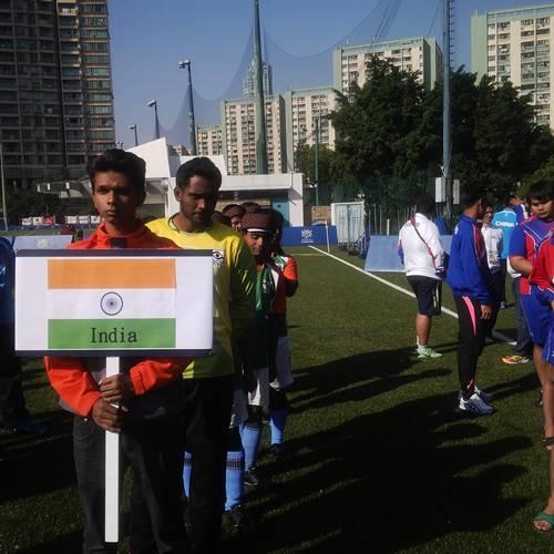Indian team line up before match hong kong