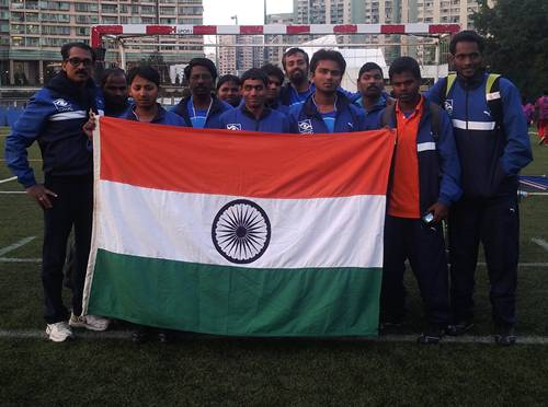 Team india with indian flag