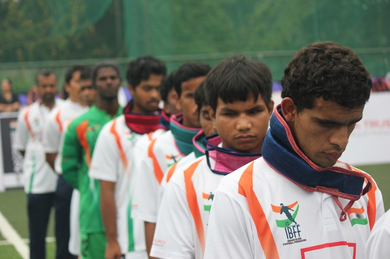 Team india line up before india vs laos match on International Tri Nation Blind Football Tournament at Kochi,
