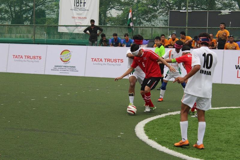 stills during match between india and laos at International Tri Nation Blind Football Tournament at Kochi