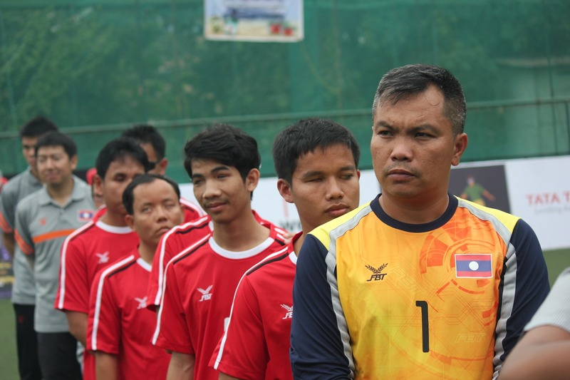 team laos line up on International Tri Nation Blind Football Tournament at Kochi,
