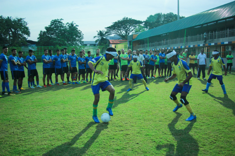 Kerala blasters team watching blind football match at cochin