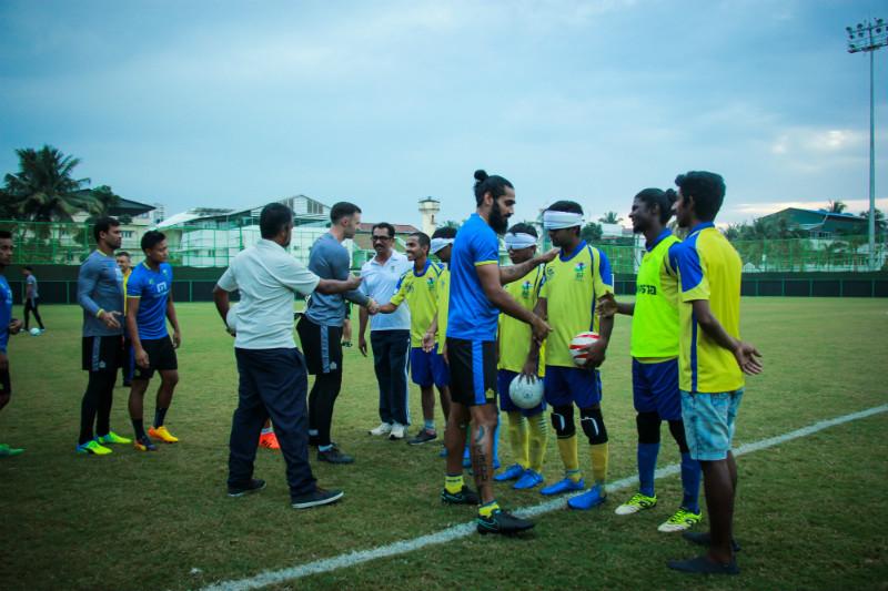 Team srvc with Kerala blasters captian Sandesh Jhingan