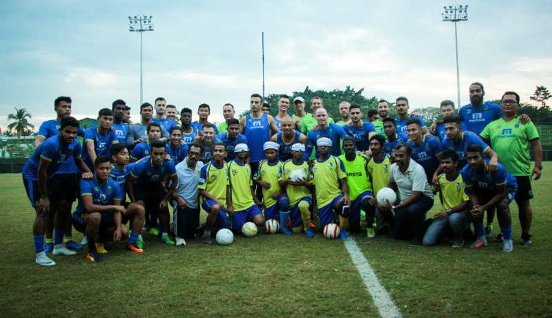 Kerala blasters team with srvc blind football team at cochin
