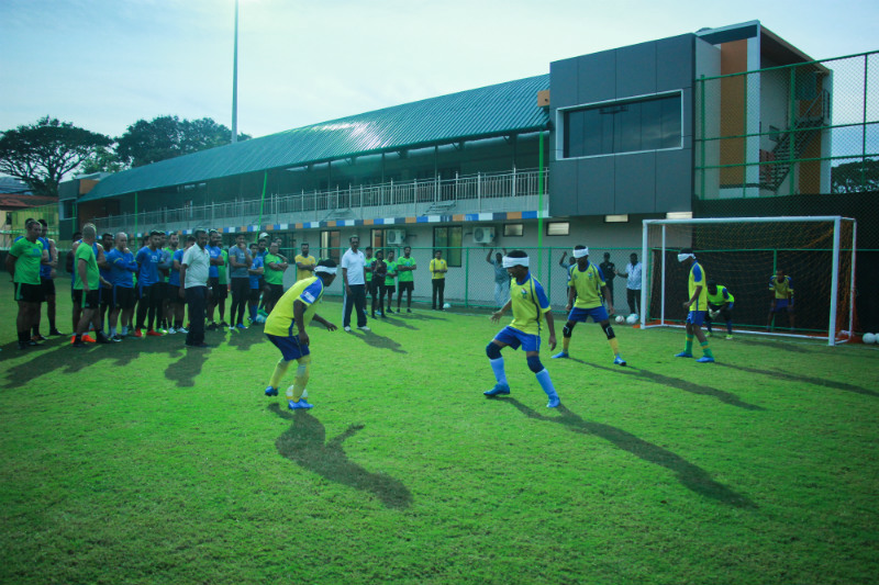 Kerala blasters team watching blind football match
