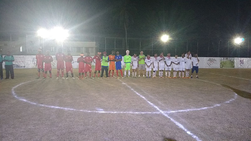 Team line up before match on evening