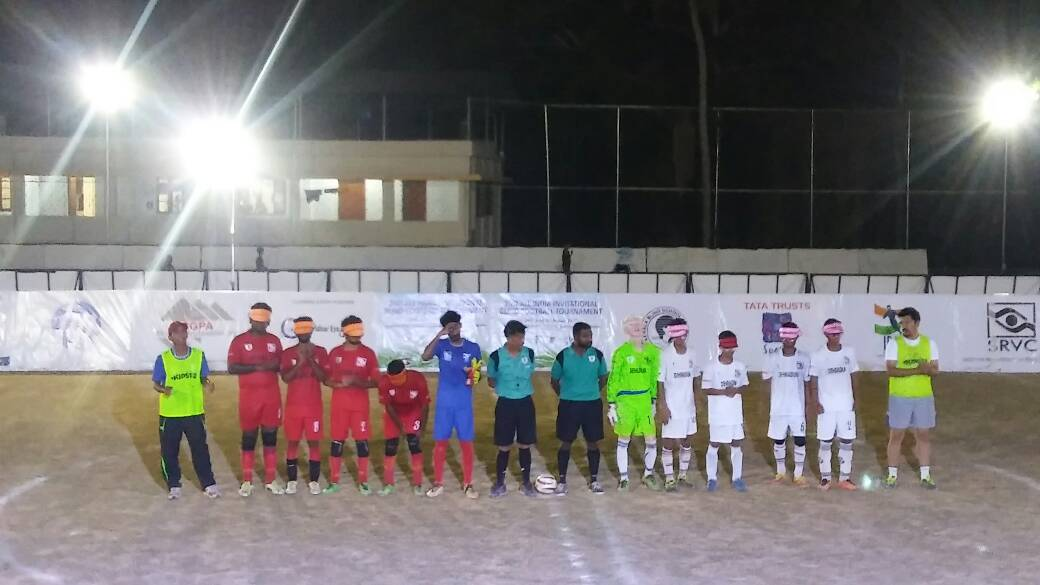 Both teams line up before match