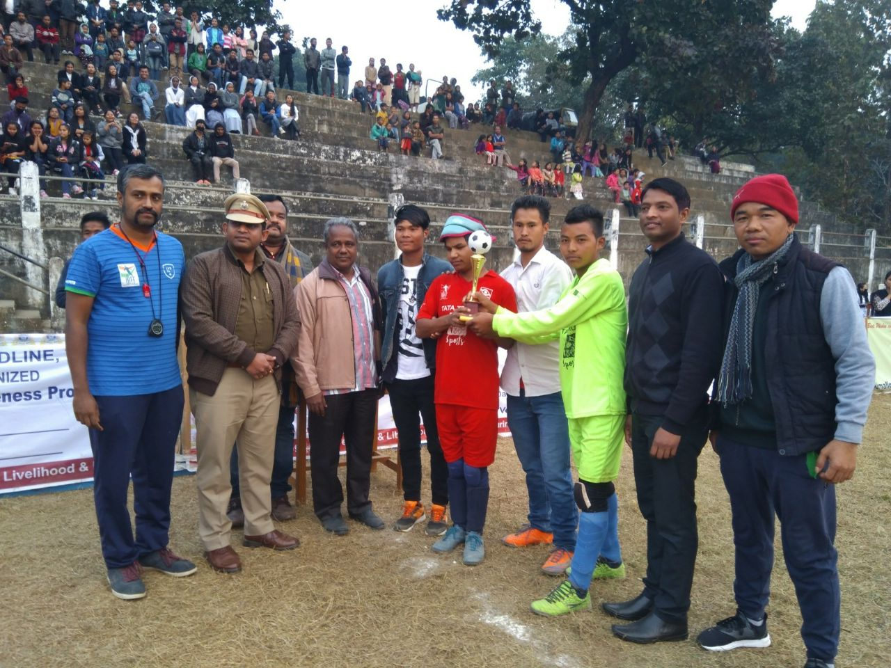 winners of Second Edition of the North East Blind Football Tournament with trophy