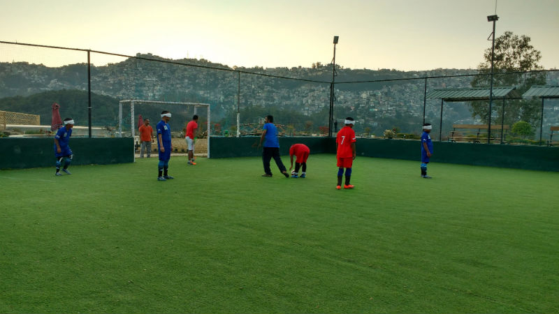 Practice session before Aizawl- Mini North East Blind Football tournament at Shillong